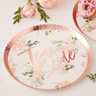 Team Bride Floral -lautaset