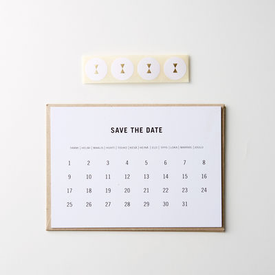 Save the date -kutsukortti, caps